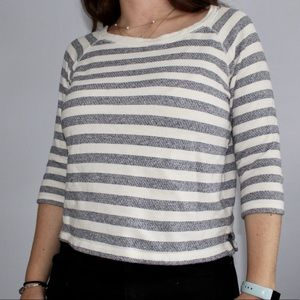 Cropped Navy and White Striped Sweater